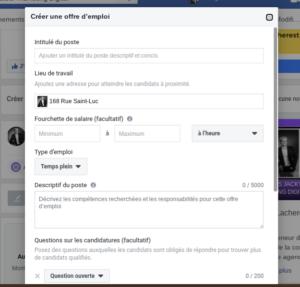 Créer une offre d'emploi Facebook 001